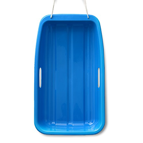 Snow Sled--Winter durable Plastic Snow Slider in boat shape Snow Sledge with 2 handles and pull rope for child and adult