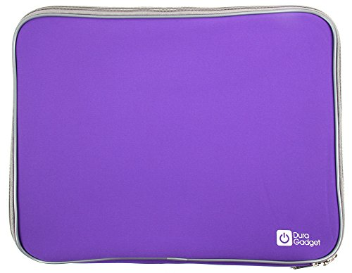 DURAGADGET Purple Travel Water Resistant & Shock Absorbent Laptop Case with Dual Zips - Compatible with Lenovo IdeaPad U410, U310, Sony Vaio VPC-Z21 & T13111E