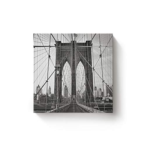Arts Language Canvas Wall Art Square Oil Painting Modern Decor for Bedroom Living Room Home Office Hotel,Grey Landscape of Brooklyn Bridge Artworks,Stretched by Wooden Frame,Ready to Hang,16 x 16 Inch