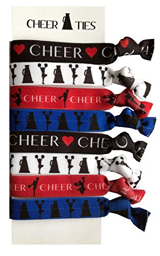 8 Piece Cheerleading Hair Elastic Set - Accessories for Cheerleaders, Cheer Coaches, Stunt Partners, Cheer Teams, Cheer Classmates and Friends, Women, Girls - MADE in the USA