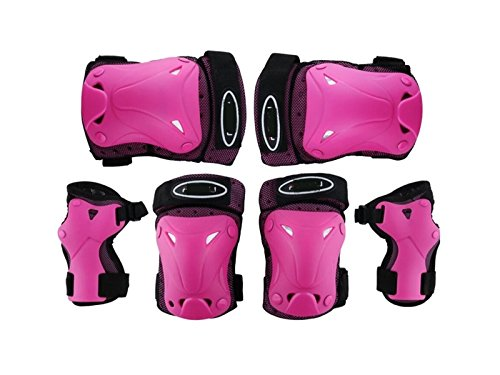 Wetietir Skating 6 Pcs/Set Kid's Protective Gear Set with Elbow Knee Handguard for Roller Skating Skateboard BMX Scooter Cycling (Pink XS) for Protection by Wetietir