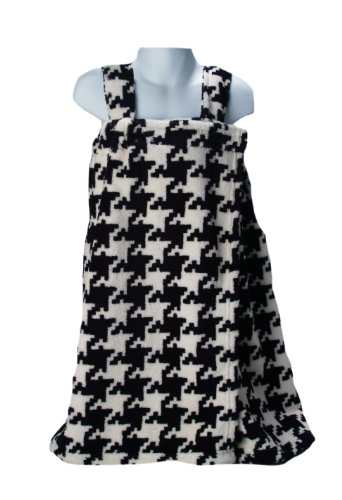 (Scene Weaver Delight 21 by 50-Inch Junior Coral Fleece Bath Wrap, Black/White, Houndstooth Pattern)
