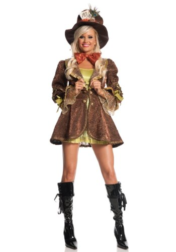 Mystery House Mad Hatter Costume, Brown, Medium (Sexy Mad Hatter Costumes)