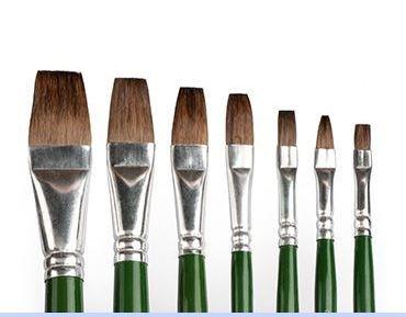 Camel Paint Brush Series 60 - Flat Pony Hair, Set Of 7 (Camel Paint)