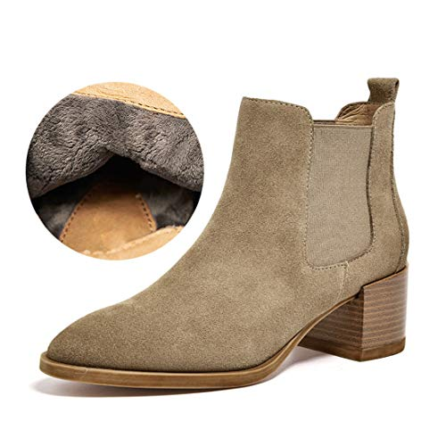 Mid Office Velvet MGM Thick Heel Dress Boots Toe Booties Women's Ankle Elastic Fall Joymod Winter on Plus Pointed Chelsea Work Slip Beige aAgwzaqx