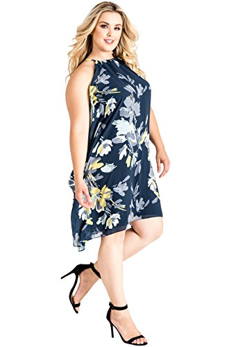 Standards & Practices Plus Size Women's Navy Floral Choker Trapeze Chiffon Dress Size 1X ()