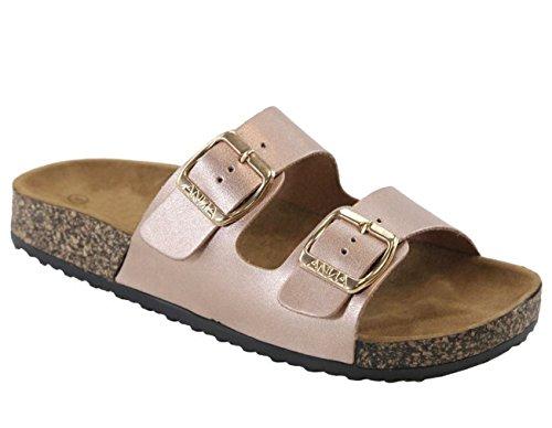 Women's Flat Casual Soft Cork Slides Sandal Double Adjustable Buckle Strap Slip on Summer Shoes Rose Gold 9 ()