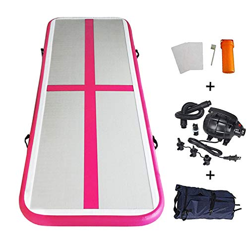 EZ GLAM Inflatable Tumbling Gymnastic Air Floor Mat Track Cheerleading for Home Use/Cheerleading/Beach/Park and Water (Pink) ()
