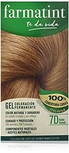 Farmatint Gel 7D Rubio Dorado. Tinte permanente. Cabello natural y color duradero. Sin amoníaco ni parabenes ni parafinas ni siliconas. Coloración natural para el pelo fácil de aplicar.