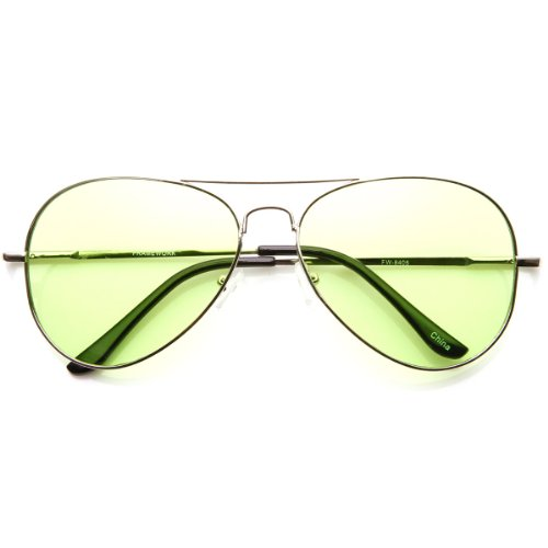 Colorful Premium Silver Metal Aviator Glasses with Color Lens Sunglasses -