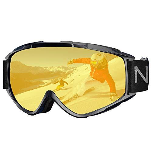 NXONE Ski Goggles Anti-Fog UV Protection Snowboard Goggles Dual Layer Lens TPU Frame Snow Goggles Men Women Yellow Lens VLT: 82.28%