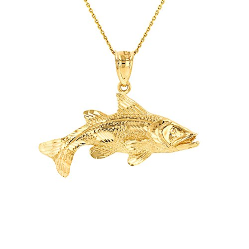 10k Yellow Gold Textured Sea Bass Pendant Necklace, 20