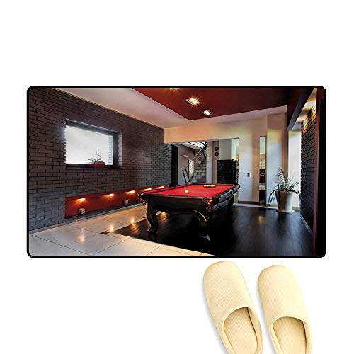 Door Mats,House with Snooker Table Hobby Pool Game Flat Furniture Leisure Time Print,Bath Mats for Bathroom,Red Brown White,20