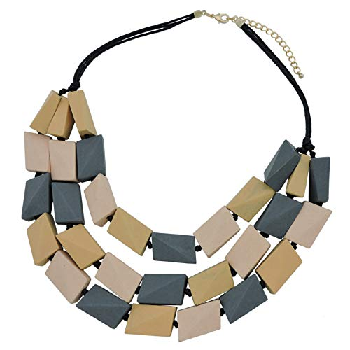 COIRIS 3 Layers Big Faceted Wood Beaded Strand Statement Necklace for Women Chunky Collar (N0018) (18-Cream+Khaki+Grey) (Faceted Art)