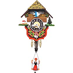 Alexander Taron Importer 166SP Black Forest Chalet Clock with Bouncing Girl As Pendulum