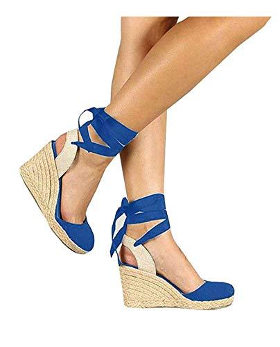 (PiePieBuy Womens Espadrille Wedges Ankle Strap Closed Toe Heeled Sandals (10 B(M) US, 2-Blue))