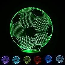 SUPERNIUDB Optical Illusion 3D Lighting Nightlight Glow for Kids Laser Cut Precision LED Lights Multicolored USB Powered Light Desk Lamps Yoga, Office, Spa, Bedroom,Baby Room (soccer)