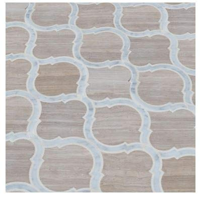 White Quarry Savona 10.89 in. x 12.80 in x 10 mm Honed Marble Mesh-Mounted Mosaic Tile by MS International (Image #3)