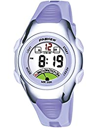 Kids Watch 30M Waterproof Sport LED Alarm Stopwatch Digital Child Wristwatch for Boy Girl Gift Light Purple