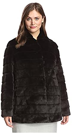Ellen Tracy Plus Women's Collarless Faux Fur Coat, Black, 1X US at ...