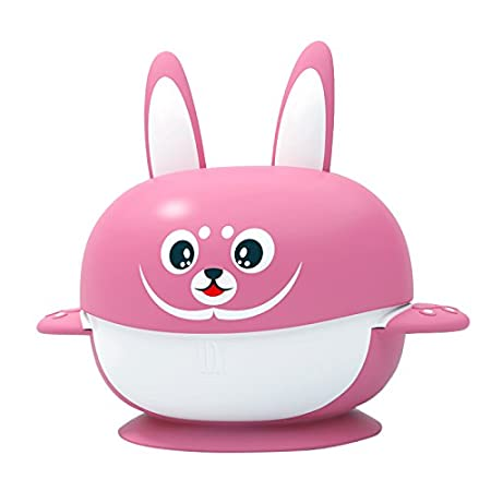 Yummy Buddy Baby & Toddler Suction Antibacterial BPA Free Suction Bowl- 6 PIECE SET- Baby Toddler Training Stay Put Solid Feeding Bowl with Lid- Feeding Tableware- 6 months+ (Pink) Darlyng & Co.