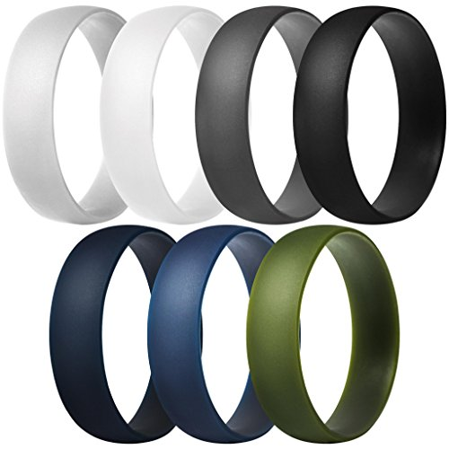 ThunderFit Silicone Rings, 7 Pack Wedding Bands for Men & Women (Dark Grey, Light Grey, White, Black, Dark Teal, Dark Blue, Dark Olive Green, 10.5-11 (20.6mm)) ()