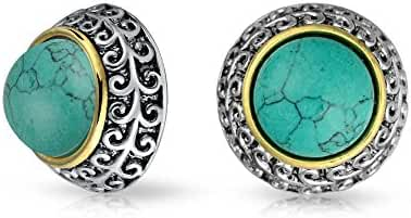 Bling Jewelry 3 Tone Reconstituted Turquoise Dome Clip On Earrings Gold Plated
