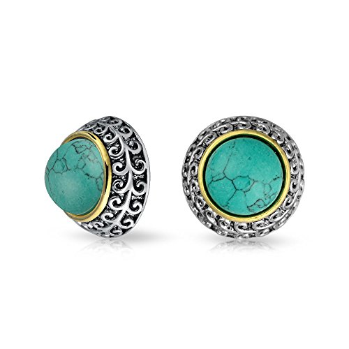 (Bali Style Two Tone Blue Simulated Turquoise Dome Clip On Earrings For Women Non Pierced Ear Silver Gold Plated Alloy)