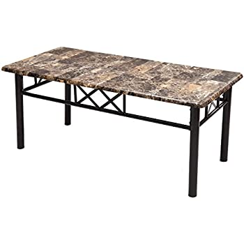 Amazon Com Adeco Coffee Occasional Table Faux Marble Top