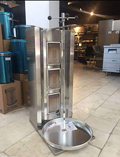 Professional Commercial Industrial Countertop 3 Burner Propane Gas Meat Capacity 35 kg / 77 lbs. Rotating Spinning Vertical Broiler Shawarma Gyro Doner Grill Kebab Tacos Al Pastor Machine