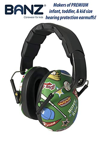 BANZ Kids Headphones - Hearing Protection Earmuffs for Children - Adjustable Headband to fit All Ages - Protect Kids Ears - Block Noise - Fireworks - Sporting Events - Concerts - Movies (Baseball)