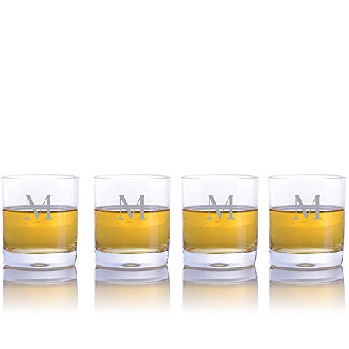 (Personalized Waterford Crystal Vintage Double Old Fashioned Tumbler Glasses - 4pc Set- Engraved & Monogrammed - Great for Groomsmen or Home Bar)