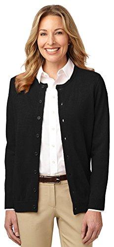 Port Authority Ladies Value Jewel-Neck Cardigan, Black, X-Small ()