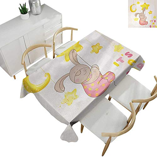 Kids,Table Covers Cartoon Like Cute Baby Bunny Hanging Stars and Moon Polka Dots Cheerful Art Polyester Washable Table Cover Yellow Tan Light Pink 54