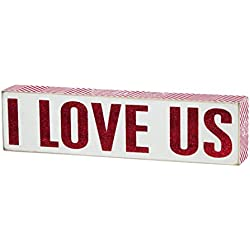 Primitives by Kathy Box Sign, I Love Us, 3 by 12-Inch
