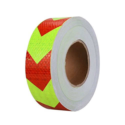 Mrcartool PVC Safety Reflective Warning Tape, Car Conspicuity Arrow Sticker 9.8FTx2'' Wrap Waterproof Film for Cars Trucks Trailers RVs Campers Boats Mailboxes (Red-Green)