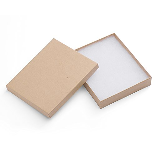 MESHA Cardboard Paper Box for Jewelry and Gift 6x5x1 Inch Thick Paper Box With Cotton Lining, pack of 10 (nature) ()