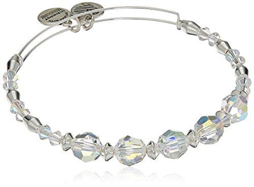 (Alex and Ani Swarovski Crystal Beaded, Frost Bangle Bracelet- Shiny Silver)