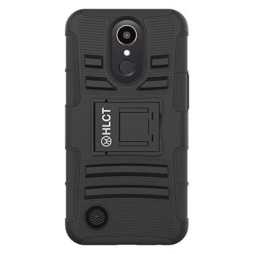 Price comparison product image LG K20 Plus Case,  HLCT Rugged Shock Proof Dual-Layer PC and Soft Silicone Case With Built-In Kickstand for LG K20 Plus (2017) (Black)