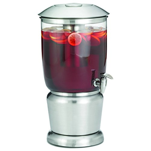 TableCraft 2.5 Gallon Drink Dispenser with Fruit Infuser & Stand | BPA Free | Tritan Stainless Steel | Cold Beverage Dispenser for Catering, Buffet or Home Use