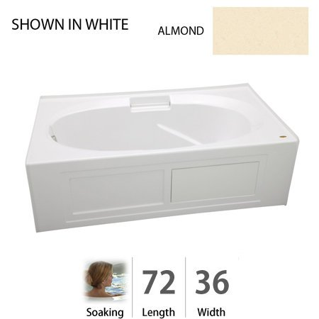 Jacuzzi NVS7236BLXXXXA 72-Inch x 36-Inch Nova Three Wall Alcove Soaking Bathtub with Left Drain and Integral skirt Jacuzzi Nova Bathtub Alcove
