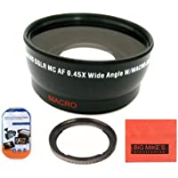 67mm 0.45x Wide Angle Lens with Macro For Canon SX30IS SX30 IS SX40 HS SX40HS SX50 HS SX50HS Digital Camera + Filter Adapter + More!!