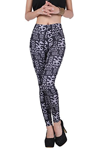 Pop Fashion Women Clothes Stretch Printed Leggings Footless Tights Ankle Pants (One Size - Regular, Rock and Roll - Black, White)