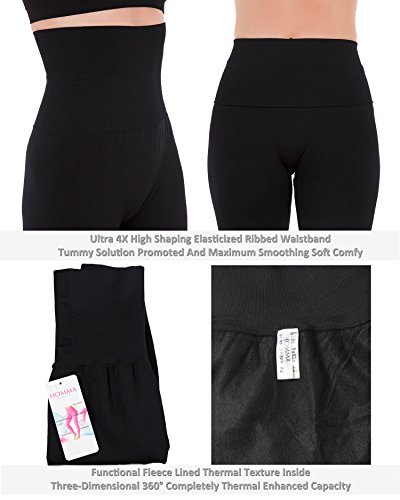 e6183a64647a07 Homma 3-Pack High Waist Compression Fleece Lined Thick Brushed Leggings  Thights (XL/