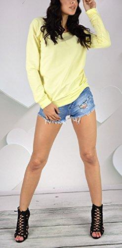 Zeta Ville - Jumper sudadera boyfriend cremalleras cuello redondo - mujer - 143z Amarillo