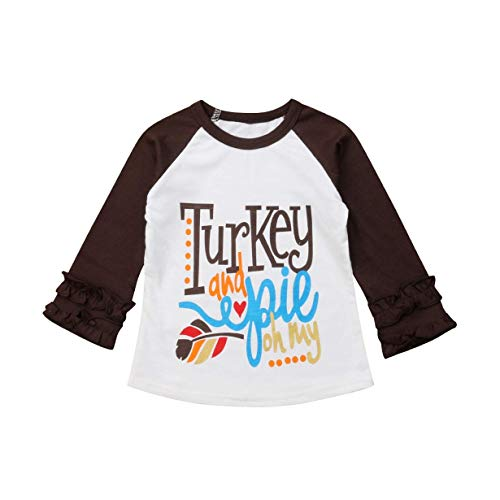 Baby Kids Girl Unicorn Halloween Pumpkin Car Print Ruffle Polka Dot Long Sleeve Cotton T-Shirt Top Outfits (Coffee-Turkey, -