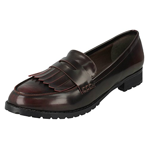Spot On Ladies Loafer Shoes Burgundy (Red) 8jYvQUbzs