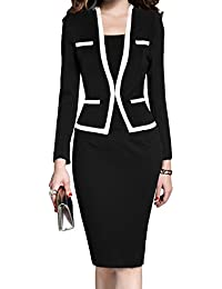 399cdfcfedf Women s Colorblock Wear to Work Business Party Bodycon One-Piece Dress