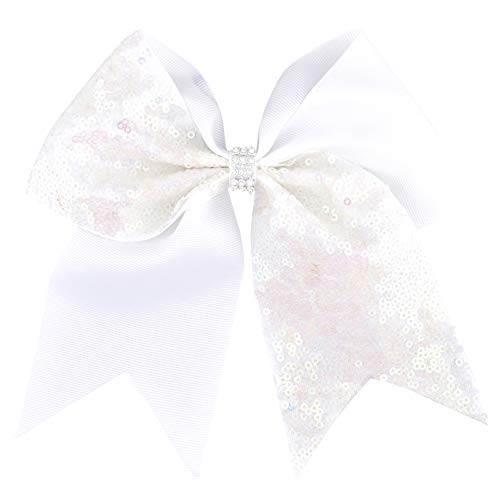 7 Inch Grils Big Grosgrain Ribbon Cheerleading Bow Rhinestone Sequins Ponytail Bows With Alligator Clip Dancing Hair Accessories 7 - Porcelain Phone Style