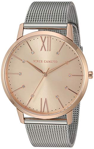 Vince Camuto Women's VC/5333RGSV Swarovski Crystal Accented Rose Gold-Tone and Silver-Tone Mesh Bracelet Watch